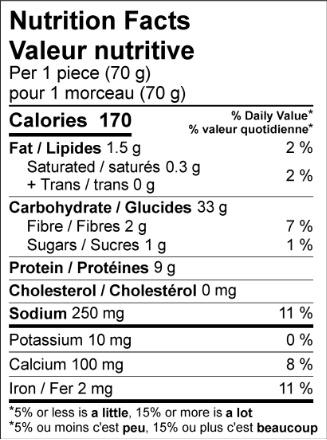 product detail flatbread original nutrition label