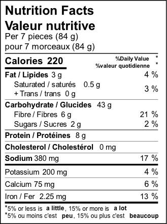 product detail naan mini nutrition label