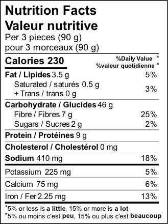product detail naan sandwich nutrition label