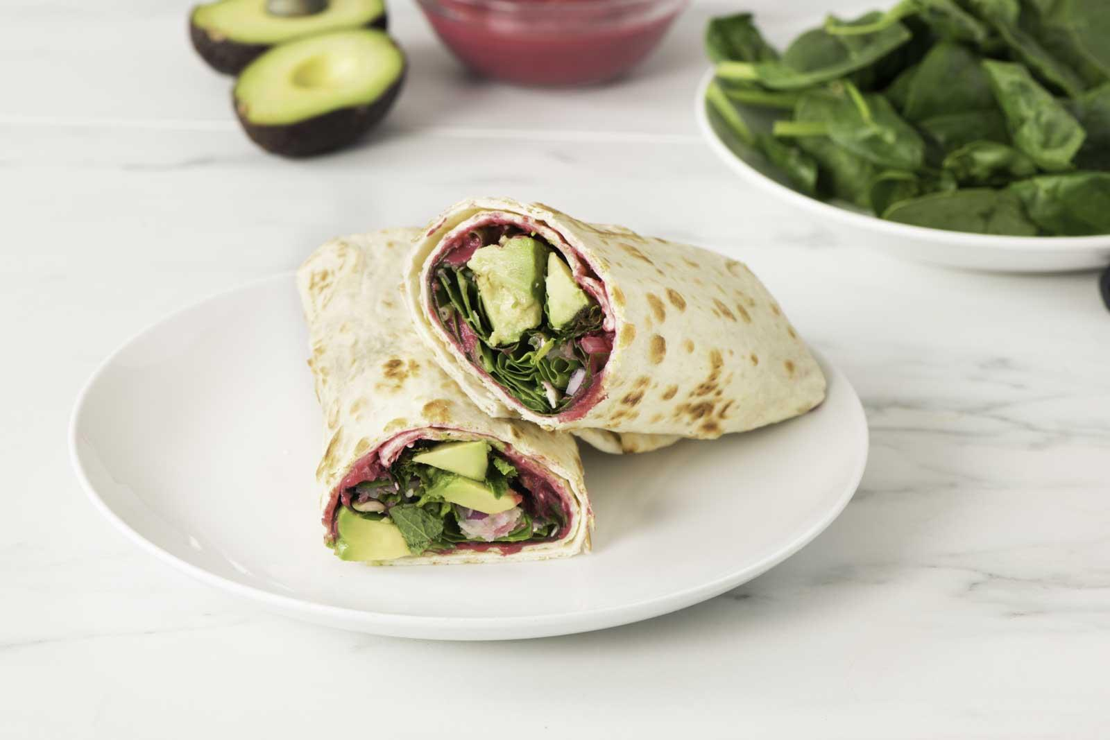 Spinach Wrap with Beet Hummus on Original Flatbread 025